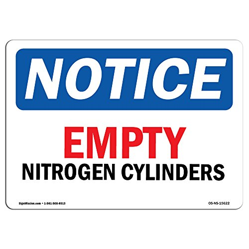 OSHA Notice Sign - Notice Empty Nitrogen Cylinders | Aluminum Sign | Protect Your Business, Construction Site, Warehouse & Shop Area | Made in The USA