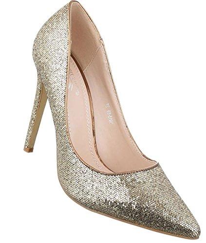 Damen Pumps Schuhe High Heels Stöckelschuhe Stiletto Schwarz Schwarz Gold Rot Silber 35 36 37 38 39 40 Gold