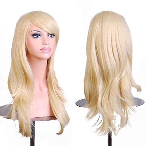 Women's Heat Resistance 28 inch 70cm Blonde Long Big Wavy Curly Hair Ends Halloween Costume Party Wigs With Bangs and Free Wig Cap for Women ()