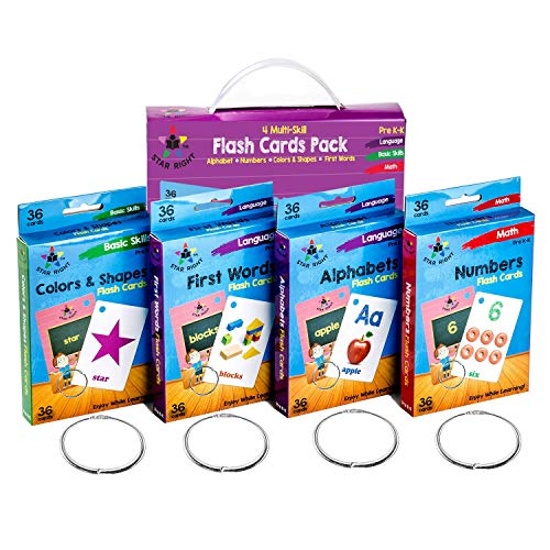 Star Right Flash Cards Set of 4 - Numbers, Alphabets, First Words, Colors & Shapes - Value Pack Flash Cards with Rings for Pre K - K