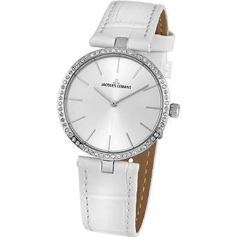 28c1f2e624 Jacques Lemans Milano Femme 34mm Bracelet Cuir Blanc Quartz Montre 1-2024G
