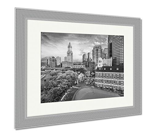 Ashley Framed Prints Boston Massachusetts USA Historic Skyline At Dusk, Wall Art Home Decoration, Black/White, 30x35 (frame size), Silver Frame, - Faneuil Location Hall