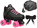 Black & Pink Mach-5 GTX500 Outdoor Quad Roller Speed Skates w/ 2 Pair of Laces (Pink & Black) + Drawstring Bag! (Mens 6)