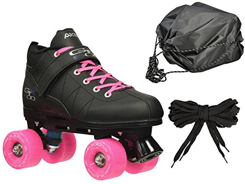 Black & Pink Mach-5 GTX500 Outdoor Quad Roller Speed Skates w/ 2 Pair of Laces (Pink & Black) + Drawstring Bag! (Mens 6) by Pacer Skates