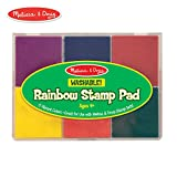 "Melissa & Doug Rainbow Stamp Pad, Arts & Crafts, Multicolored Inkpad, Washable Ink, 6 Bright Colors, 6.5"" H x 4.95"" W x 0.8"" L"