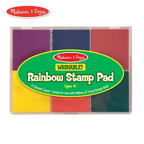 Washable Rainbow Stamp Pad - Melissa & Doug Rainbow Stamp Pad, Arts & Crafts, Multicolored Inkpad, Washable Ink, 6 Bright Colors, 6.5