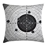 Ambesonne Military Decor Throw Pillow Cushion Cover, Gun Bullet Holes on Paper Target Army Weapon Danger Violence Themed Image, Decorative Square Accent Pillow Case, 16 X 16 Inches, Charcoal Grey