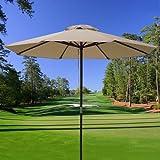 9 Ft Air Vented Sun Shade Wooden Tan Cover Umbrella Patio Market Garden  Outdoor