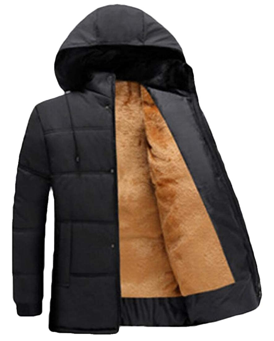 WSPLYSPJY Mens Hood Faux Fur Lined Quilted Winter Coats Jacket