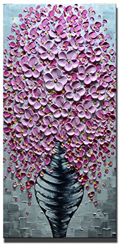 Desihum-3D Oil Paintings On Canvas Large Vertical Art 100% Hand Painted Pictures Elegant Pink Abstract Artwork Textured Wall Art for Living Room,Bedroom,Dinning Room Framed Home Decor Canvas(24
