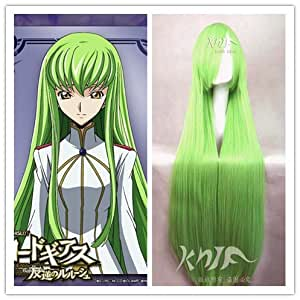 High Quality Top Sale100cm Long Green Straight Code Geass Cc Cosplay Wig Party+free Wig Cap Os188t
