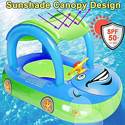 iGeeKid Baby Pool Float with Canopy, Car Shaped Inflatable Swim Float Boat with Sunshade for Toddler Infant Boys Girls Pool Floaties Cute Boat Summer Beach Outdoor Play (Blue): Toys & Games