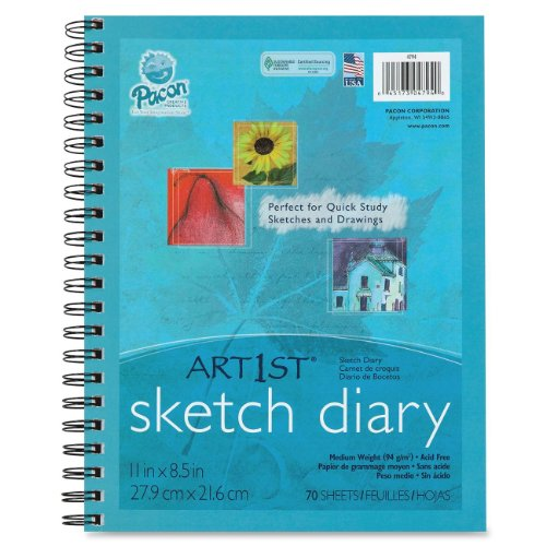 "Pacon 4794 Art1st Sketch Diary, 8.5"" x 11"", 70 Sheets"