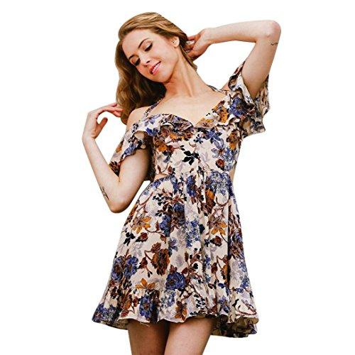 DOLDOA Mujeres Imprimir Mini vestido corto de la falda vestido de fiesta de noche Caqui