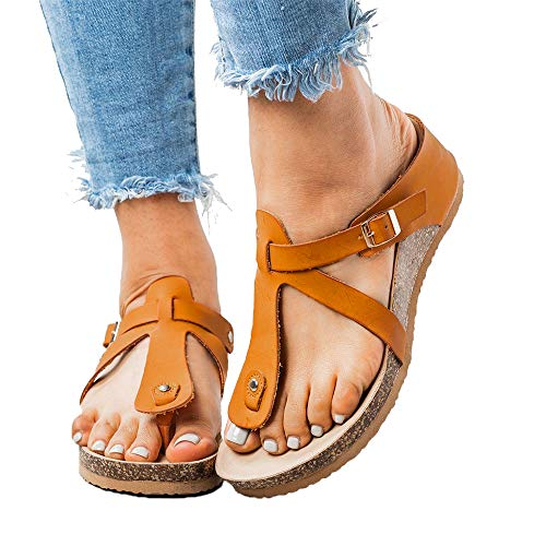 Chenghe Women's Fashion Flat Ankle Buckle Sandals Gladiator Thong Flip Flop Mayari Sandals Yellow US 5