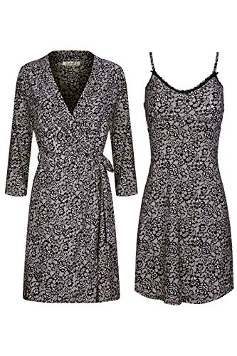 SofiePJ Women's Printed Sleepwear Lace Detail Chemise and Robe 2 Piece Set Black Khaki XL (Sleep Chemise)