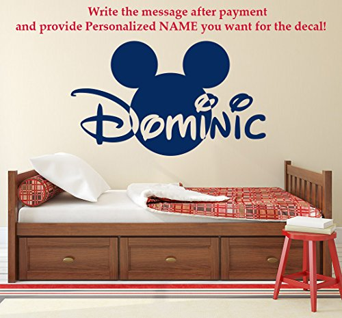 Mickey Mouse Name Wall Decal Head Ears Vinyl Sticker Decals Custom Name Personalized Baby Boy Name Decor Bedroom Nursery Baby Room Decor (Boy Disney Names)