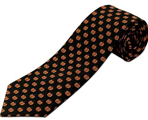 Halloween Necktie - Extra Long Tie - Jack-o-lantern Halloween Novelty Silk, 63 Inches Long