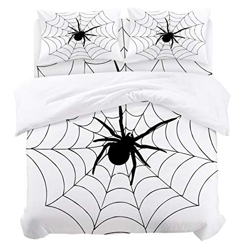 - DaringOne Animal (4 Pcs, Full) Full Size Spider Web Black and White Bedding Set 4 Piece Lightweight Bed Comforter Covers Includes 2 Pillow Shams