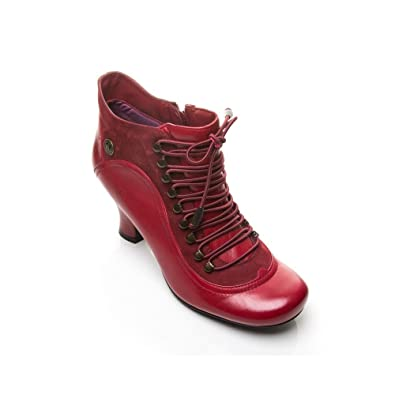 3dca93418924 HUSH PUPPIES Womens H2482307L Red Multi Leather Lace Up Ankle Boot on Mid  Heel 10