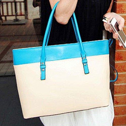 Bolsa de mujeres - All4you PU cuero señoras bolso Satchel equipaje bolso de mano Bag(Yellow) Beige