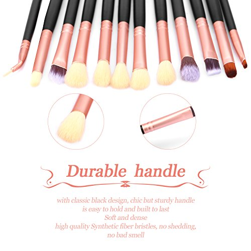 Bestope Eye Makeup Brushes Set, Premium 12pcs Cosmetics Eyeliner Eyeshadow Concealer Brushes Contouring Blending Beauty Tools for Eye Lip Brow Liquid Cream Powder(Rose Gold and Black)