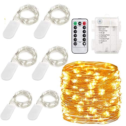 6Pack 20 LED Starry Copper Wire String Lights and 1Pack Fairy Lights Halloween String Lights Battery Operated Waterproof 8 Modes Remote Control 100 Led String Lights 33 ft Copper Wire Firefly lights
