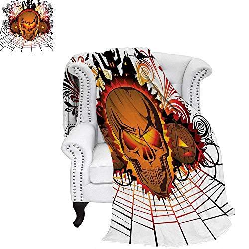 YOLIKA Halloween Velvet Plush Throw Blanket Angry Skull Face on Bonfire Spirits of Other World Concept Bats Spider Web Design Weave Pattern Blanket 60