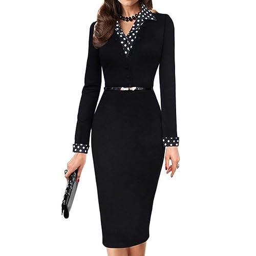 THUNDERSTAR Women's Long Sleeve Spots Pencil Dress Business Style