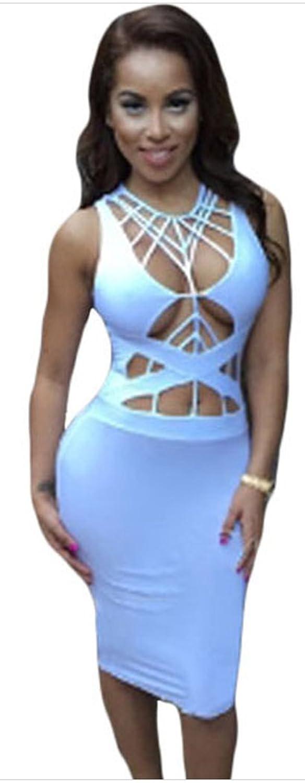Christmas DH-MS DressWomen's Daring Strappy Cutout Body-conscious Club Dress Onesize
