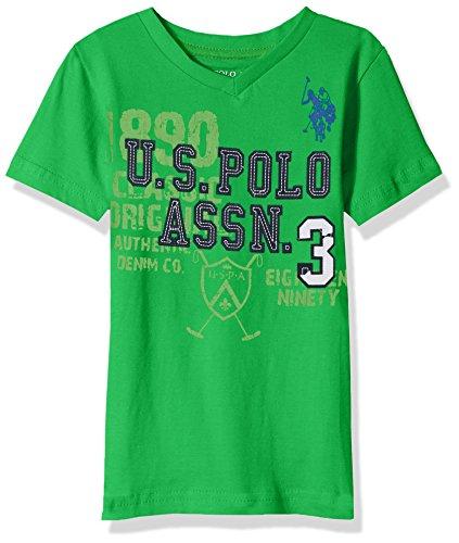 U.S. Polo Assn. Big Boys' Short Sleeve Solid V-Neck T-Shirt, Felt Applique Court Green, (Felt Applique Tee)