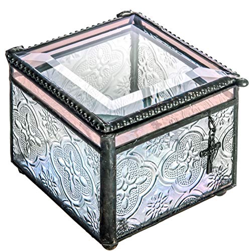 - J Devlin Box 631 Stained Glass Jewelry Box with Christian Cross Charm Christening Baptism First Communion Confirmation Keepsake Gift Trinket Box