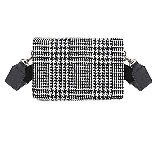 - Aisa Lady Vintage Houndstooth Suede Genuine Leather Fashion Handbag Girl Plaid Pattern Party Clutch Shoulder Bag Black