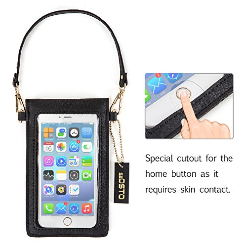 Bag for Strap Leather Phone Womens 8 Bag Under Small Wallet SeOSTO iPhone Inch Samsung Cross with Black Purse Body Smartphone Shoulder Handbag Cell 5 EtCZqdwd6