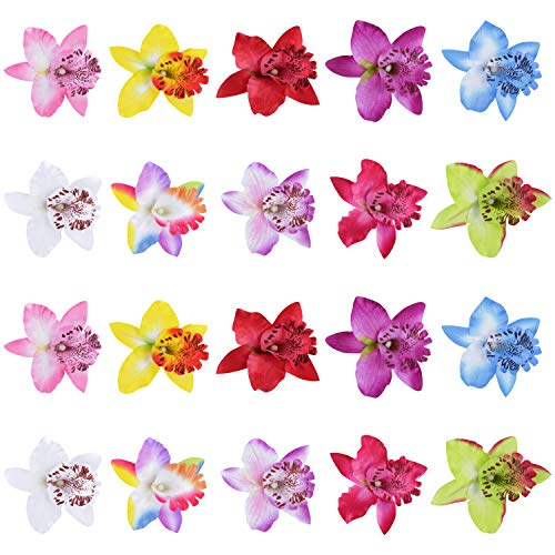 20 Pack Fake Artificial Silk Orchid Flower Hair Clips Barrettes Clamps Bows With Alligator Brooch Pins Tropical Hair Pieces Tailand Beach Holiday Wedding Party Hairstyle Hawaiian Accessories for Women