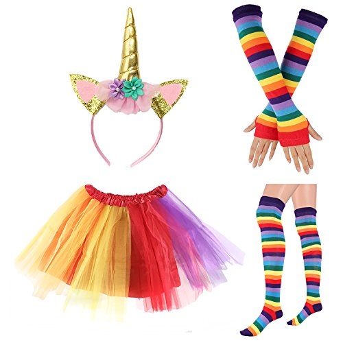 80s Womens Accessory,Tutu Skirt,Unicorn Headband, Unicorn Wigs Rainbow Long Gloves Socks,Rainbow Adjustable Suspenders w/Bow-tie -