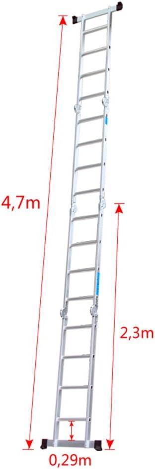 Hengmei 6/in 1/Aluminium Ladder Step Ladder Multi Purpose Ladder Folding Step Ladder Household Ladder Increased Slider Work Platform Ladder Multi Function Ladder