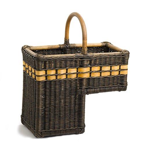 The Basket Lady Wicker Stair Step Basket One Size (size 0) Antique Walnut Brown
