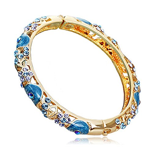 Filigree Cloisonne (Libaraba Luxurious Crystal Accent Cloisonne Filigree Bangle Bracelet (Pink))