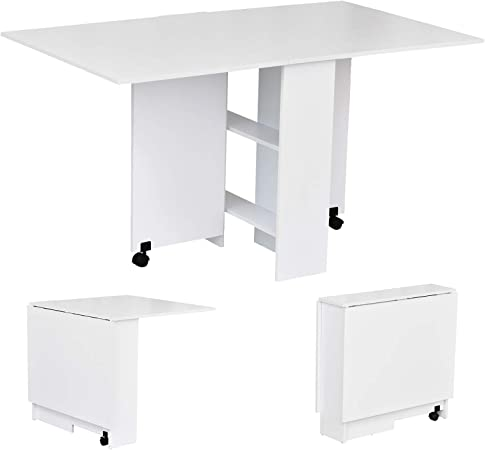Homcom Mobile Drop Leaf Dining Kitchen Table Folding Desk For Small Spaces With 2 Wheels 2 Storage Shelves White Amazon Co Uk Kitchen Home