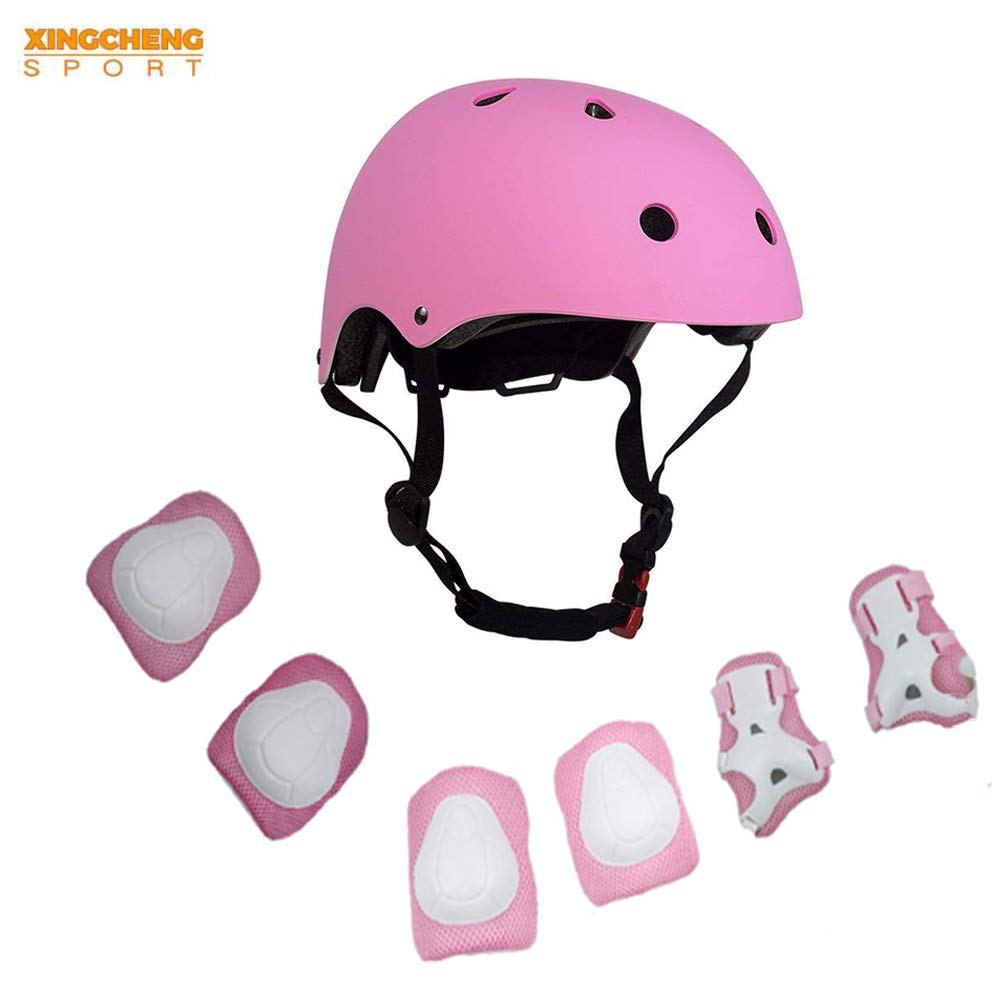ZCS-SHOP Kids Multi-Sport Helmet With Knee&Elbow Pads and Wrists, 7 Pieces Kids Boys and Girls Outdoor Sports Safety Protective Gear Set for Skateboard Cycling Skate Scooter(4-8 Years Old) (Pink)