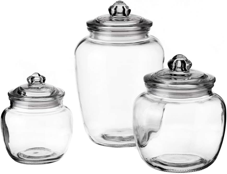 LOLAhome Set de 3 tarros de cristal para cocina transparentes cl/ásicos