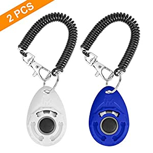 N / A 2PCS Training Clicker for Dogs with Wrist Strap, Dog Cat Clicker Bird Pet Puppy Clicker Training with Big Button…