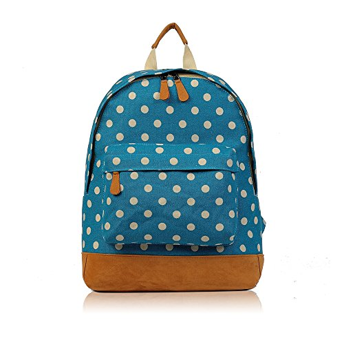 SALE - Childrens 'Cath Kidston' Designer Style Canvas Print Backpack Bag - JC Kids 'Back to School' Collection (Polka - Dark Blue)