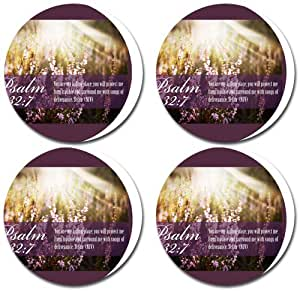 Psalm 32:7 Bible Verse Rubber Round Coaster set (4 pack) Great Gift Idea