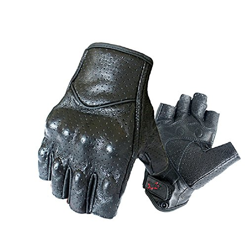 Half Finger/Fingerless Motorcycle Gloves Genuine Goatskin Leather With Perforated Hole For Men/Women (XL) ()