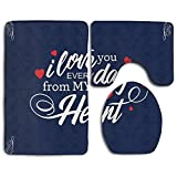 HSs4AD I Love You Every Day From My Heart With Frame Dark Non Slip Antistatic 3 Piece Bathroom Rug Set Bath Mat Contour Mat & Toilet Lid Cover