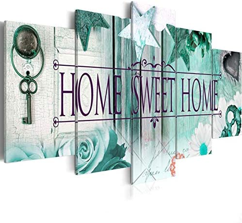 AWLXPHY Decor-Home Sweet Home Canvas Wall Art Print Painting 5 Panels Framed