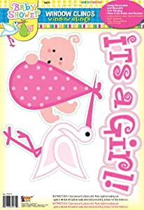 Forum Novelties It's a Girl Baby Pink Window Cling Party Shower Decoration