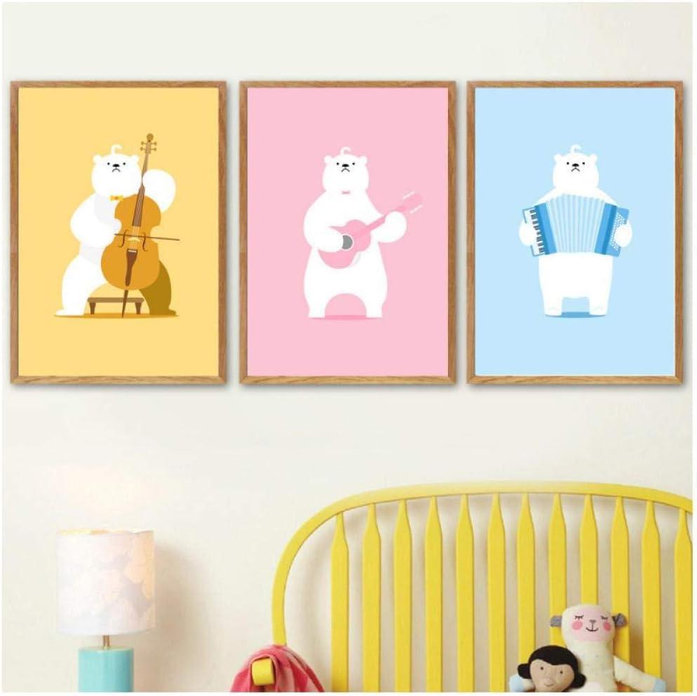 XIANGLL Cuadro En Lienzo,Kawaii Guitar Cello Accordion Bear Nordic Carteles e Impresiones Arte de la Pared Pintura de la Lona Cuadros de la Pared para la habitación de los niños 40x60cmx3 Un